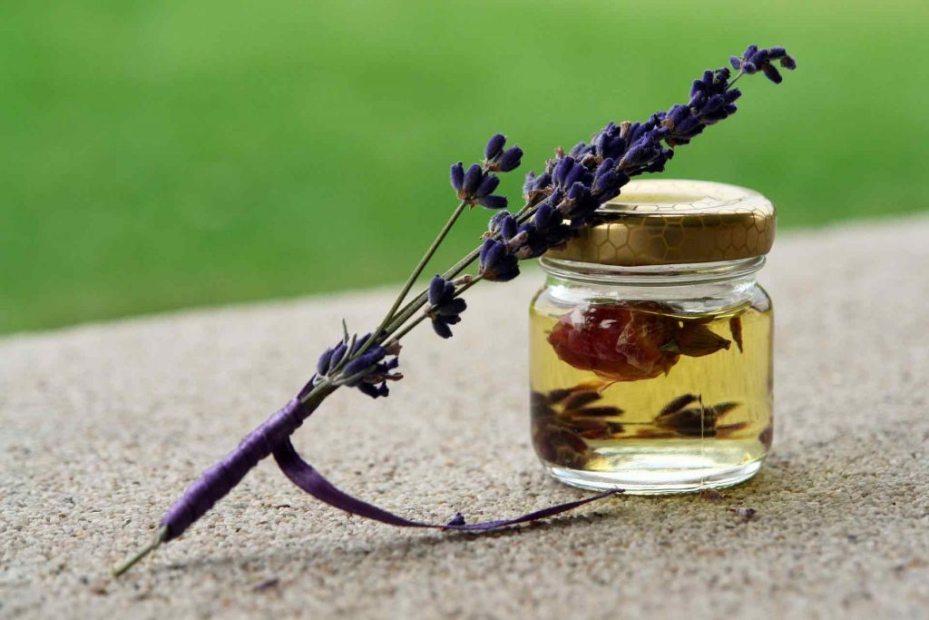 essential oil jar with lavender